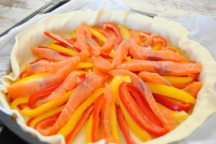 Quiche saumon etpoivrons