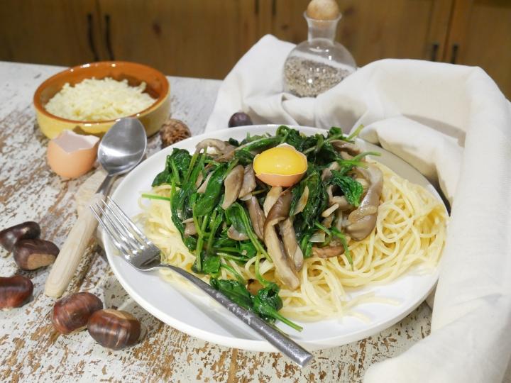 Spaghettis carbonara d'automne